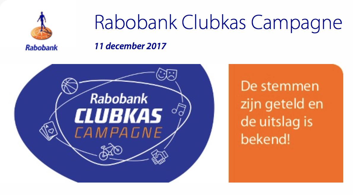 Uitslag Rabobank Clubkas Campagne bekend